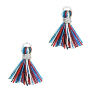 Kwastjes 1cm Zilver-Multicolour red blue