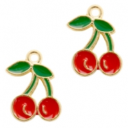 Basic quality metalen bedels cherry Gold-red green