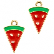 Basic quality metalen bedels watermelon Gold-red green