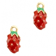 Basic quality metalen bedels strawberry Gold-red green