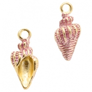 Basic quality metalen bedels shell Gold-pink