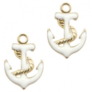 Basic quality metalen bedels anchor Gold-white