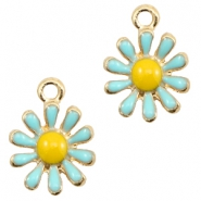 Basic quality metalen bedels daisy Gold-light blue