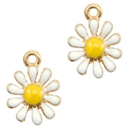 Basic quality metalen bedels daisy Gold-white