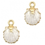 Basic quality metalen bedels shell Gold-white