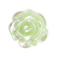 Roosjes kralen 10mm Celery ice green-zilver coating