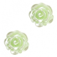 Roosjes kralen 6mm Celery ice green-zilver coating