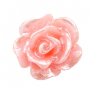 Roosjes kralen 10mm Salmon rose-zilver coating