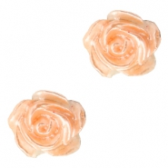 Roosjes kralen 6mm Wit-fresh peach pearl shine