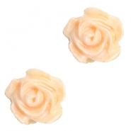 Roosjes kralen 6mm Wit-apricot blush orange