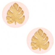 Houten cabochon blad 12mm Light pink