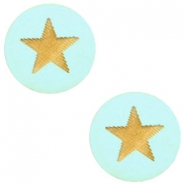 Houten cabochon ster 12mm Turquoise