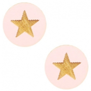Houten cabochon ster 12mm Light pink