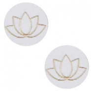 Houten cabochon lotus 12mm Grey