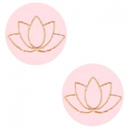 Houten cabochon lotus 12mm Dark pink