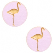 Houten cabochon flamingo 12mm Light lavender purple