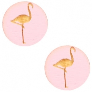 Houten cabochon flamingo 12mm Dark pink