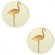 Houten cabochon flamingo 12mm Champagne metallic
