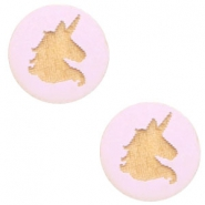 Houten cabochon unicorn 12mm Light lavender purple