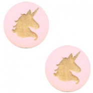 Houten cabochon unicorn 12mm Dark pink