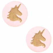 Houten cabochon unicorn 12mm Light pink