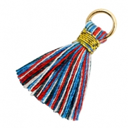 Kwastjes 1.8cm Goud-Multi colour red blue