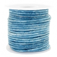 Voordeelrol DQ Leer rond 3 mm Vintage barberry blue metallic