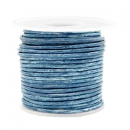 Voordeelrol DQ Leer rond 2 mm Vintage barberry blue metallic