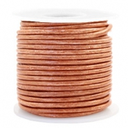 Voordeelrol DQ Leer rond 3 mm Vintage copper brown metallic