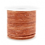 Voordeelrol DQ Leer rond 2 mm Vintage copper brown metallic
