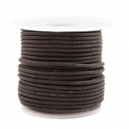 Voordeelrol DQ Leer rond 2 mm Dark chocolate brown