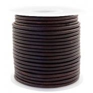 Voordeelrol DQ Leer rond 3 mm Vintage chocolate brown