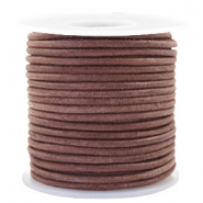 Voordeelrol DQ Leer rond 3 mm Red brown-vintage finish