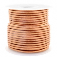 Voordeelrol DQ Leer rond 3 mm Copper gold metallic