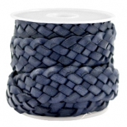20 mm plat DQ leer gevlochten Dark blue