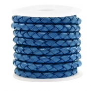 DQ leer 4 draden rond gevlochten 4mm Antique blue