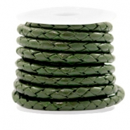 DQ leer 4 draden rond gevlochten 4mm Army green metallic