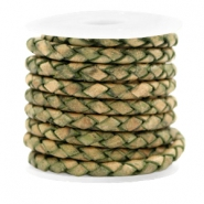 DQ leer 4 draden rond gevlochten 4mm Medium olive green-vintage finish