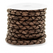 DQ leer 4 draden rond gevlochten 4mm Dark chocolate brown