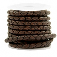 DQ leer 4 draden rond gevlochten 4mm Vintage chocolate brown