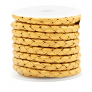 DQ leer 4 draden rond gevlochten 4mm Golden yellow metallic