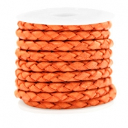 DQ leer 4 draden rond gevlochten 4mm Antique orange