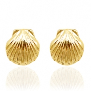Trendy oorbellen studs shell Gold