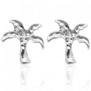 Trendy oorbellen studs palm tree Silver