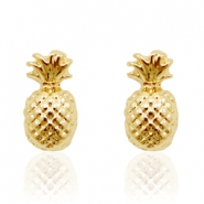 Trendy oorbellen studs pineapple Gold