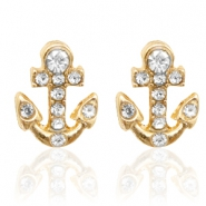 Trendy oorbellen studs anchor Gold