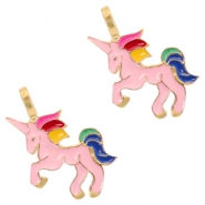 Basic Quality metalen bedels unicorn Deep gold-pink