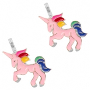 Basic Quality metalen bedels unicorn Silver-pink
