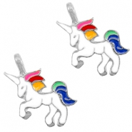 Basic Quality metalen bedels unicorn Silver-white