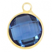 Hangers van crystal glas rond 12mm Denim blue-gold